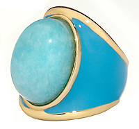 blue and gold rock enamel ring
