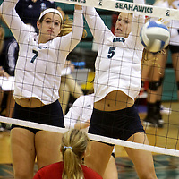 UNCW's Kaitlyn Cobb, left, and Meredith Peacock defend against Eastern Washington in the Hilton Garden Inn Wilmington Mayfaire Classic Sunday August 31, 2014 at Hanover Hall in Wilmington, N.C. (Jason A. Frizzelle)