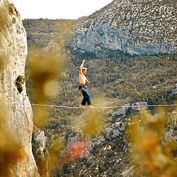 Salewa ambassador, Mich Kemeter, sending a 40m highline, 200m high, rigged in the Sordidon sector of Verdon Gorges, France...2012 © Pedro Pimentel