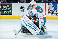 KELOWNA, CANADA -FEBRUARY 10: Jackson Whistle #1 of the Kelowna Rockets makes a save during second period against the Seattle Thunderbirds on February 10, 2014 at Prospera Place in Kelowna, British Columbia, Canada.   (Photo by Marissa Baecker/Getty Images)  *** Local Caption *** Jackson Whistle;