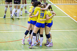 Players of Luka Koper celebrate during volleyball match between Nova KBM Branik Maribor and OK Luka Koper in Final of Women Slovenian Cup 2014/15, on January 18, 2015 in Sempeter v Savinjski dolini, Slovenia. Photo by Vid Ponikvar / Sportida