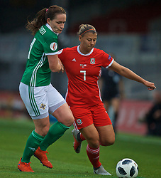 NEWPORT, WALES - Tuesday, September 3, 2019: Wales' Emma Jones (R) and Northern Ireland's Sarah McFadden during the UEFA Women Euro 2021 Qualifying Group C match between Wales and Northern Ireland at Rodney Parade. (Pic by David Rawcliffe/Propaganda)