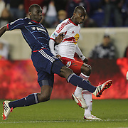 Bakary Soumare, (left), Chicago Fire, tackles Bradley Wright-Phillips, New York Red Bulls, during the New York Red Bulls V Chicago Fire, Major League Soccer regular season match at Red Bull Arena, Harrison, New Jersey. USA. 27th October 2013. Photo Tim Clayton