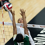 18 November 2017:  The San Diego State women's volleyball team closes out it's season against #24 Colorado State University. San Diego State outside hitter Ashlynn Dunbar (6) attempts to spike the ball past an CSU defender in the first set. The Aztecs fell to the Rams in three sets. <br /> www.sdsuaztecphotos.com