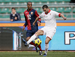Bari (BA), 13-02-2011 ITALY - Italian Soccer Championship Day 25 - Bari VS Genoa..Pictured: Kanko (GE) Ghezzal (BA).Photo by Giovanni Marino/OTNPhotos . Obligatory Credit