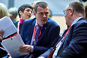 Graz, Austria - 2017 March 18: (L) Witold Banka (Polish Sports Minister) speaks with (R) Romain Schneider from Luxembourg (Minister of Sports) during Global Forum on Inclusion in Social Affairs and Sports while Special Olympics World Winter Games Austria 2017 at Convention Centre Messe Graz on March 18, 2017 in Graz, Austria.<br /> <br /> Mandatory credit:<br /> Photo by &copy; Adam Nurkiewicz / Mediasport<br /> <br /> Adam Nurkiewicz declares that he has no rights to the image of people at the photographs of his authorship.<br /> <br /> Picture also available in RAW (NEF) or TIFF format on special request.<br /> <br /> Any editorial, commercial or promotional use requires written permission from the author of image.<br /> <br /> Image can be used in the press when the method of use and the signature does not hurt people on the picture.