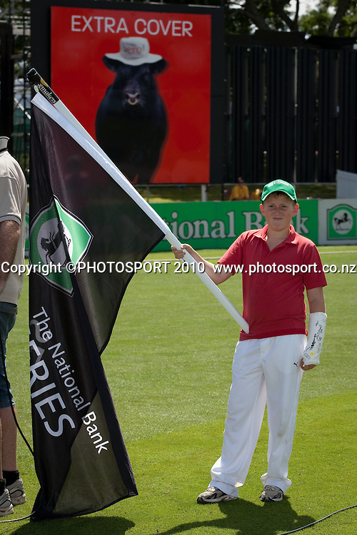 Flag bearers as players enter the field during the third one day Chappell Hadlee cricket series match between New Zealand Black Caps and Australia at Seddon Park, won by Australia by 6 wickets in Hamilton, New Zealand. Tuesday 9 March 2010. Photo: Stephen Barker/PHOTOSPORT