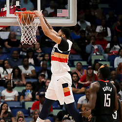Mar 24, 2019; New Orleans, LA, USA; New Orleans Pelicans forward Anthony Davis (23) dunks against the Houston Rockets during the first half at the Smoothie King Center. Mandatory Credit: Derick E. Hingle-USA TODAY Sports