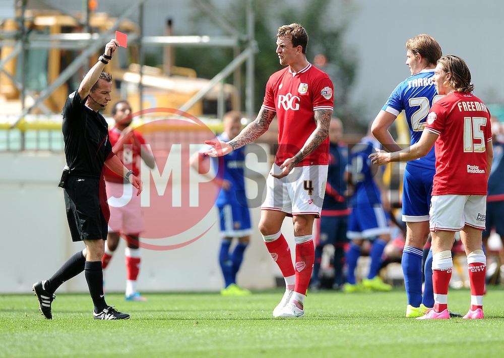Luke Freeman of Bristol City is sent off  - Mandatory byline: Joe Meredith/JMP - 07966386802 - 15/08/2015 - FOOTBALL - Ashton Gate -Bristol,England - Bristol City v Brentford - Sky Bet Championship