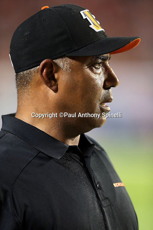 Cincinnati Bengals head coach Marvin Lewis looks on from the sideline during the NFL week 9 football game against the Miami Dolphins on Thursday, Oct. 31, 2013 in Miami Gardens, Fla.. The Dolphins won the game 22-20 in overtime. ©Paul Anthony Spinelli