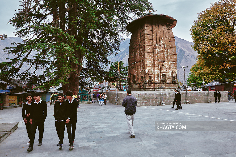 School kids walking in  Chaurasi temple complex in Bharmour, Chamba, Himachal Pradesh, India