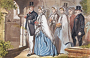 The Wedding Day' a bridal party at the church door. Chromolithograph c1885.
