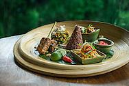 Tempeh Satay, Yellow Tofu Curry, Organic Red Rice, Urab, Acar Pickles, Sambal Matah, Sesame Crackers