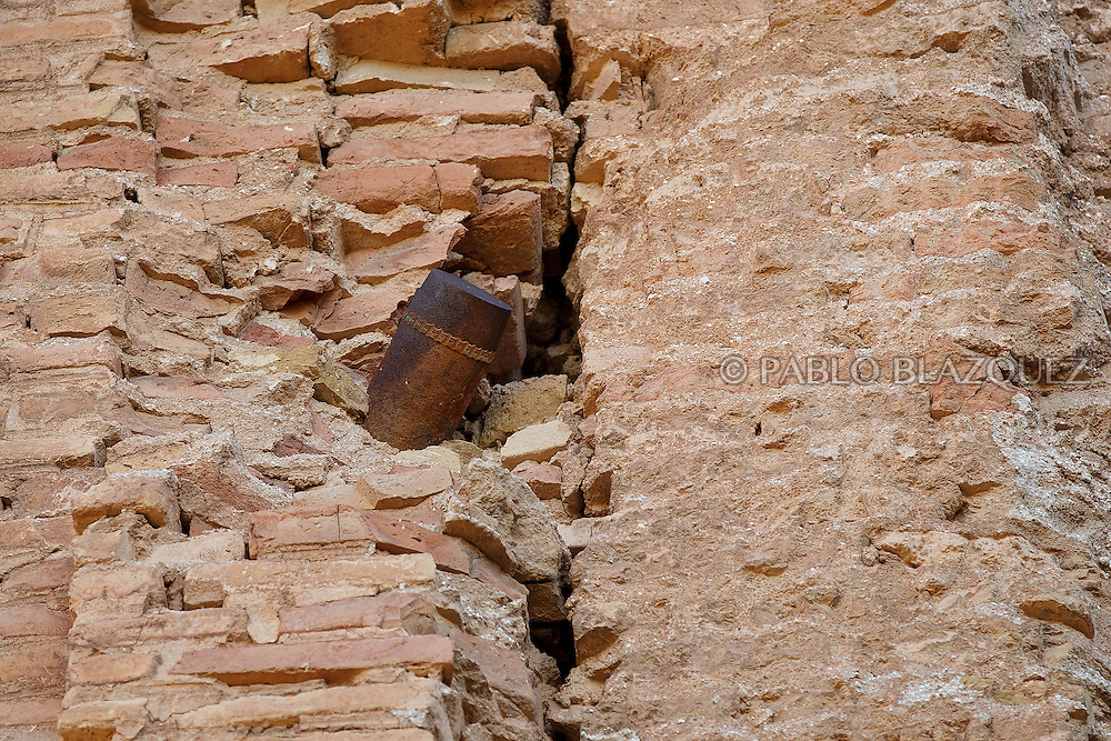 14/07/2016. A detail of a rocket is seen on a wall at the ruins of San Agustin Church on July 14, 2016 at Old Belchite village, in Aragon province, Spain. Before Franco's coup on 18 July 1936, Belchite village had a socialist mayor. Within a few days Franco's forces arrested Belchite's government. The battle of Belchite took place on 24 August to 7 September 1937, during the Spanish Civil War confronting left wing Republicans and right wing General Franco's forces, until the Republicans conquered the village. On March 1938, Franco's regime took control of Belchite again after approximately 30 bombings with the help of Italian's war planes. The result of these battles and bombings was a devastated village and over three thousands deaths. Then Franco ordered to leave the ruins untouched, as a living monument of war, and started to build the New Belchite village just beside. (© Pablo Blazquez)