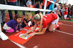 Poppy Pattinson of Bristol City signs autographs after the final whistle - Mandatory by-line: Nizaam Jones/JMP - 28/04/2019 - FOOTBALL - Stoke Gifford Stadium - Bristol, England - Bristol City Women v West Ham United Women - FA Women's Super League 1