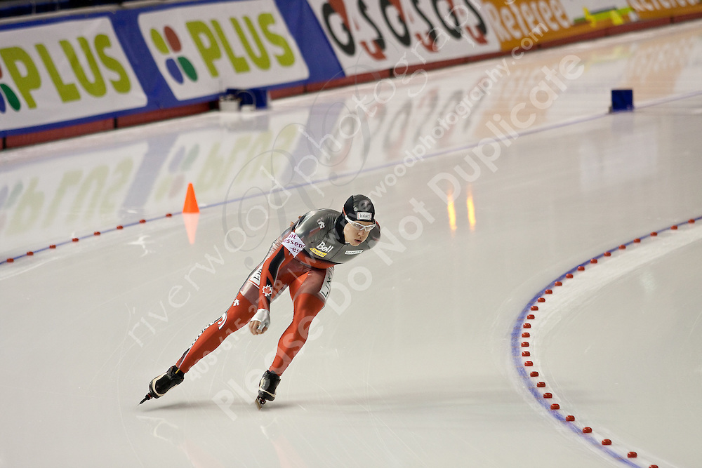 Calgary - December 5, 2009 - Essent ISU World Cup Speedskating at the Olympic Oval in Calgary.  Mathieu Giroux of Canada races in the A Division of the men's 5000m event.  Giroux finished 19th in 6:31.80...©2009, Sean Phillips.http://www.Sean-Phillips.com