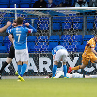 St Johnstone v MotherwellÖ17.12.16     McDiarmid Park    SPFL<br /> Zander Clark lies on the pitch after his howler gifted Richard Tait the opening goal<br /> Picture by Graeme Hart.<br /> Copyright Perthshire Picture Agency<br /> Tel: 01738 623350  Mobile: 07990 594431