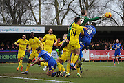 Oxford United goalkeeper Benjamin Buchel   during the Sky Bet League 2 match between AFC Wimbledon and Oxford United at the Cherry Red Records Stadium, Kingston, England on 27 February 2016. Photo by David Vokes.