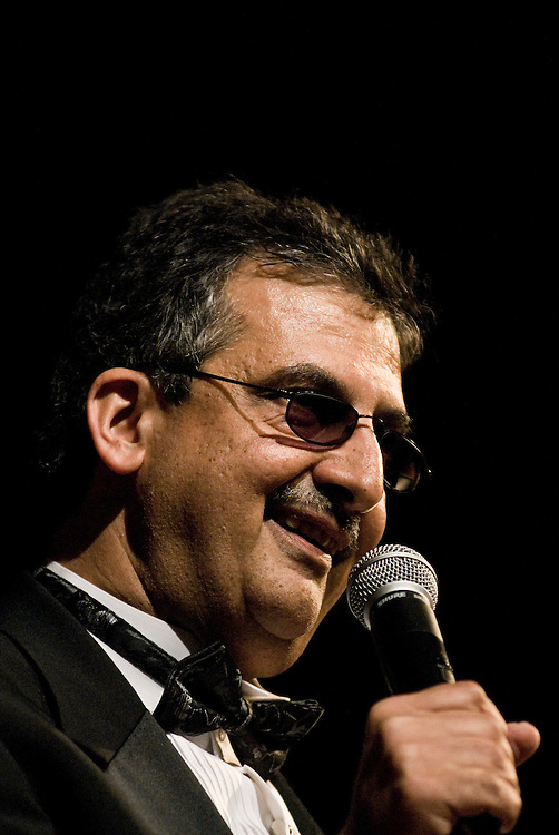 Ray Hanania, Palestinian-American journalist and stand-up comedian performing at the American University at Dubai auditorium in Dubai on Apr 14,2006... by Siddharth Siva