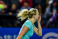 SHENZHEN, Jan. 5, 2018  Katerina Siniakova of the Czech Republic reacts after winning her semi-final match against Maria Sharapova of Russia at the WTA Shenzhen Open tennis tournament in Shenzhen, China, Jan. 5, 2018. Katerina Siniakova won 2-1. (Credit Image: © Mao Siqian/Xinhua via ZUMA Wire)