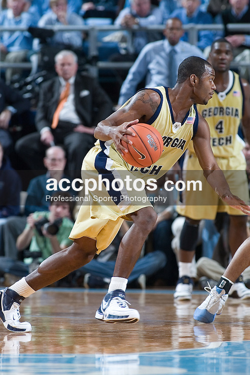 20 January 2007: Georgia Tech Yellow Jackets guard Mario West (5) during a 77-61 Yellow Jackets loss to the North Carolina Tar Heels, in the Dean E. Smith Center in Chapel Hill, NC.