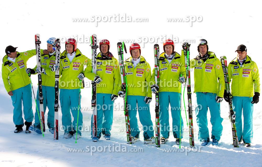 Men Downhill Team:   Burkhard Schaffer, Bostjan Kline, Rok Perko, Andrej Jerman, Andrej Krizaj, Andrej Sporn, Gasper Markic and Vlado Makuc during media day of Slovenian Alpine Ski team on October 17, 2011, in Rudno polje, Pokljuka, Slovenia. (Photo by Vid Ponikvar / Sportida)