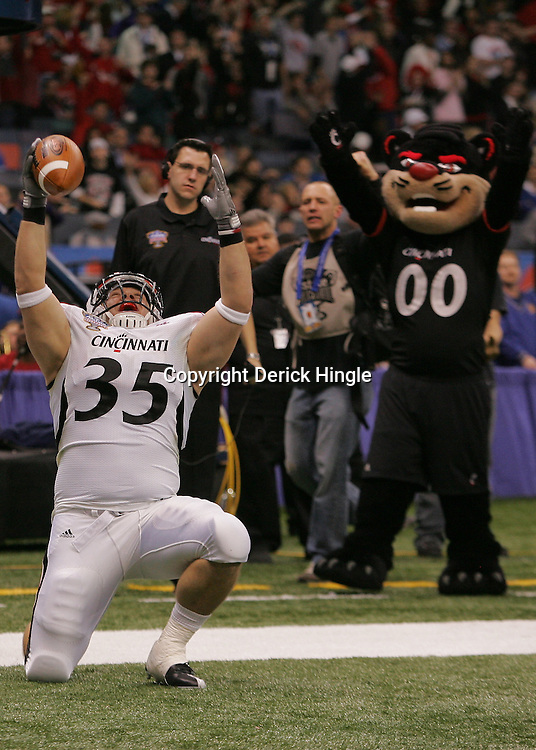 Jan 01, 2010; New Orleans, LA, USA;  Cincinnati Bearcats player Marcus Waugh celebrates after a touchdown against the Florida Gators during the second half of the 2010 Sugar Bowl at the Louisiana Superdome. Florida defeated Cincinnati 51-24.  Mandatory Credit: Derick E. Hingle-US PRESSWIRE.