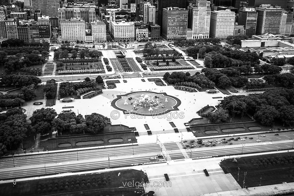 Chicago aerial picture in black and white with Buckingham Fountain, Grant Park, Lake Shore Drive and downtown Chicago buildings. Photo was taken in 2013.