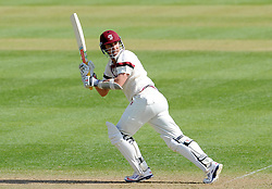 Somerset's Tom Cooper flicks the ball off the bowling of Durham's Chris Rushworth- Photo mandatory by-line: Harry Trump/JMP - Mobile: 07966 386802 - 12/04/15 - SPORT - CRICKET - LVCC County Championship - Day 1 - Somerset v Durham - The County Ground, Taunton, England.