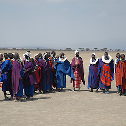 masai woman waring colorful cloths in the Ngorongoro area, Tanzania