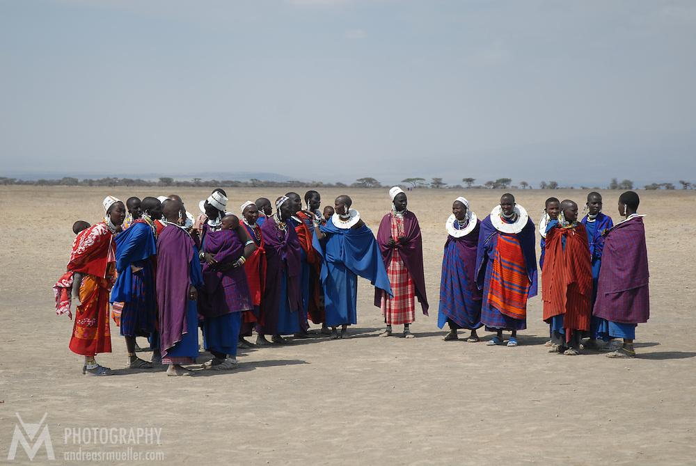 masai woman waring colorful cloths in the Ngorongoro area, Tanzania