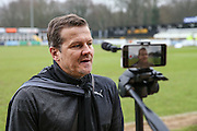 Forest Green Rovers manager, Mark Cooper being interviewed before the match during the Vanarama National League match between Bromley FC and Forest Green Rovers at Hayes Lane, Bromley, United Kingdom on 7 January 2017. Photo by Shane Healey.