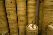 Dumpling in bamboo baskets awaiting steaming at a dumpling restaurant in Teipei, Taiwan.