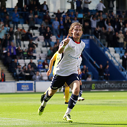 TELFORD COPYRIGHT MIKE SHERIDAN 25/8/2018 - GOAL. James McQuilkin of AFC Telford celebrates after scoring to make it 1-0 during the Vanarama Conference North fixture between AFC Telford United and Chester City.