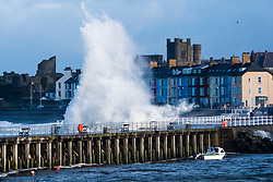 © Licensed to London News Pictures. 07/02/2019. Aberystwyth, UK. Waves batter the sea defences at Aberystwyth on the Cardigan Bay coats of West Wales at high tide this morning. A yellow Met Office warning for wind has been covering most of the UK issued for tomorrow until Saturday, with the likelihood of travel disruption .<br />