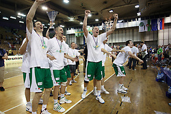 XYZ during basketball match KK Union Olimpija vs KK Krka in fifth game of the Finals of Telemach league, on June 9, 2010 in Hala Tivoli, Ljubljana, Slovenia. (Photo by Urban Urbanc / Sportida Photo Agency)