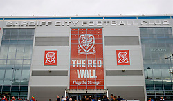 CARDIFF, WALES - Thursday, September 6, 2018: The Red Wall branding outside the stadium before the UEFA Nations League Group Stage League B Group 4 match between Wales and Republic of Ireland at the Cardiff City Stadium. (Pic by Laura Malkin/Propaganda)