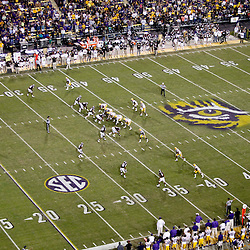 November 10, 2012; Baton Rouge, LA, USA; A general view of the LSU Tigers offense against the Mississippi State Bulldogs defense during the second half of a game at Tiger Stadium.  LSU defeated Mississippi State 37-17. Mandatory Credit: Derick E. Hingle-US PRESSWIRE