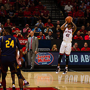 09 December 2017:  The San Diego State men's basketball team hosts the California Golden Bears Saturday afternoon. San Diego State Aztecs guard Jeremy Hemsley (42) attempts an ucontested three point shot in the second half against Cal. The Aztecs lost 63-62 to Cal.<br /> www.sdsuaztecphotos.com