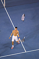 Novak Djokovic (SRB) rips off his shirt and celebrates, bare chested to his team after winning an epic Grand Slam Final against Rafael Nadal (ESP). 2012 Australian Open Tennis Championship. Mens Singles Singles. Final. Rod Laver Arena, Melbourne and Olympic Parks, Melbourne, Victoria, Australia. 29/01/2012. Photo By Lucas Wroe