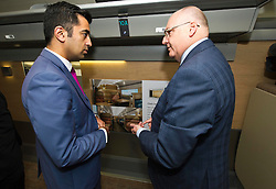 Pictured: Humza Yousaf and Peter Strachan, Caledonian Sleeper Managing Director<br /> Transport minister Humza Yousaf MSP headed to Broxburn today to view a mock-up of the lay-out of the new Caledonian Sleeper cars which will come into service in 2018. He met executives of Caledonian Sleeper and was shown round the carraige by Managing Director Peter Strachan<br /> <br /> (c) Ger Harley | Edinburgh Elite media