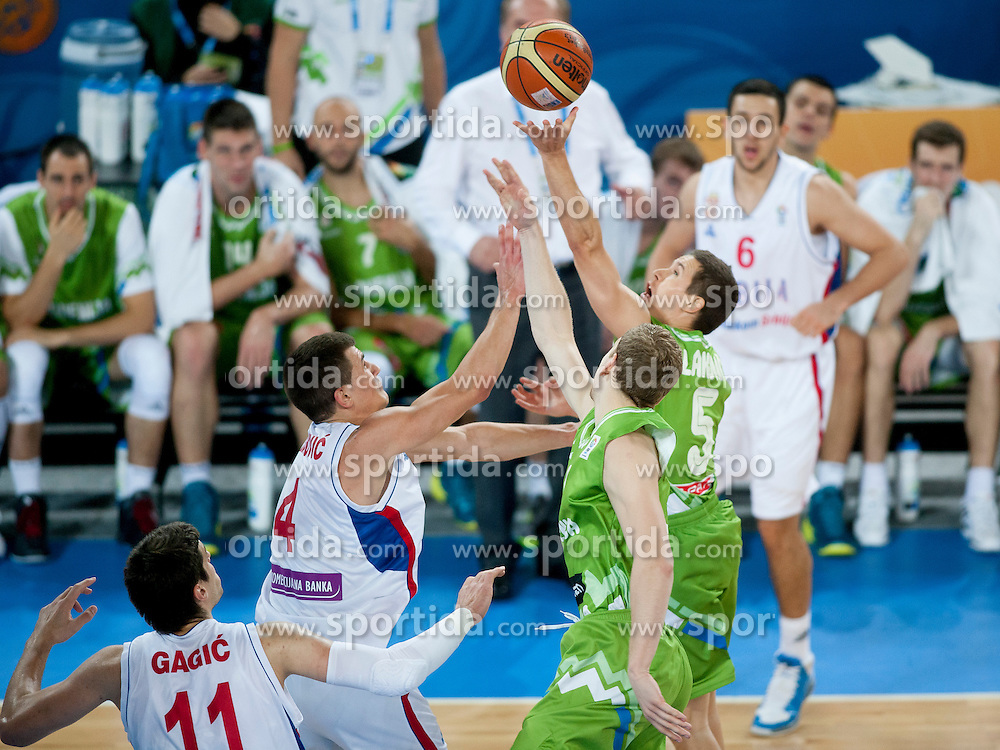 Jaka Lakovic of Slovenia during basketball match between National teams of Serbia and Slovenia in ranking of 5th to 8th place at Day 16 of Eurobasket 2013 on September 19, 2013 in SRC Stozice, Ljubljana, Slovenia. (Photo By Urban Urbanc / Sportida)