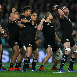 The All Blacks perform a haka before before the Bledisloe Cup Rugby match between the New Zealand All Blacks and Australia Wallabies at Eden Park in Auckland, New Zealand on Saturday, 17 August 2019. Photo: Simon Watts / lintottphoto.co.nz