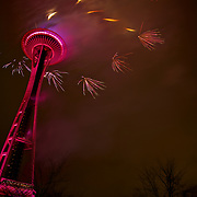 Ring of Fireworks at the New Year's at the 2017 New Year's at the Needle Celebration