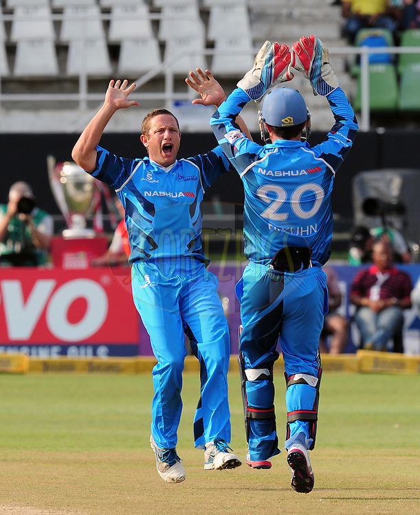 J Rudolph celebrates taking the wicket of Gareth Hoopkins during match 8 of the Karbonn Smart CLT20 South Africa between The Titans and The Auckland Aces held at Kingsmead Park in Durban, South Africa on the 17th October 2012..Photo by Gerhard Duraan/SPORTZPICS/CLT20