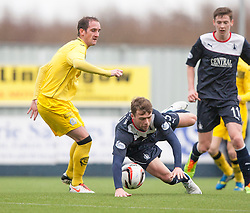 Queen of the South's Mark Kerr and Falkirk's Rory Loy.<br /> Half time : Falkirk 0 v 0 Queen of the South, Scottish Championship game today at the Falkirk Stadium.<br /> &copy; Michael Schofield.