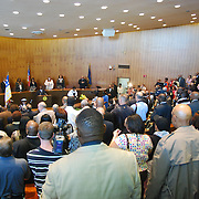 Detroit Mayor Ken Cockrel, Jr, is sworn is as the 61st Mayor of the city of Detroit... in front of a packed auditorium on the 13th floor of the Detroit City County Building.