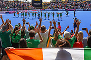 Ireland team celebrate with the fans in the crowd after winning their match during the Vitality Hockey Women's World Cup 2018 Semi-Final match between Ireland and Spain at the Lee Valley Hockey and Tennis Centre, QE Olympic Park, United Kingdom on 4 August 2018. Picture by Martin Cole.