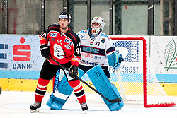 08.09.2013, Zimni Stadion, Zneim, CZE, EBEL, HC Orli Znojmo vs SAPA Fehervar AV19, 1. Runde, im Bild Milan Prochazka (Znojmo #40) Bence Balizs (Fehervar #39) // during the Erste Bank Icehockey League 1st round match betweeen HC Orli Znojmo and SAPA Fehervar AV19 at the Zimni Stadium, Znojmo, Czech Republic on 2013/09/08. EXPA Pictures © 2013, PhotoCredit: EXPA/ Rostislav Pfeffer
