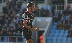 Try scorer Phil Dollman of Exeter Chiefs celebrates.  - Mandatory byline: Alex Davidson/JMP - 12/03/2016 - RUGBY - Sandy Park -Exeter Chiefs,England - Exeter Chiefs v Newcastle Falcons - Aviva Premiership